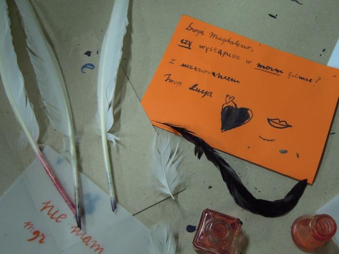 Gołąb butelka list piórem_warsztaty foto